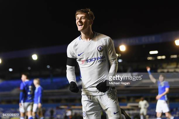 Charlie Brown of Chelsea celebrates making it 30 during the FA Youth Cup SemiFinal First Leg between Birmingham City v Chelsea at St Andrews on April...
