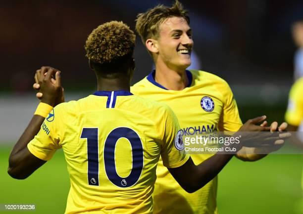 Charlie Brown of Chelsea celebrates scoring Chelsea's third goal with Callum HudsonOdoi during the Blackburn Rovers U23 v Chelsea U23 Premier League...