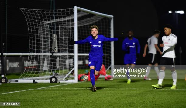 Charlie Brown of Chelsea celebrates scoring during the Fulham and Chelsea U18 Premier League match at Motspur Park on February 23 2018 in New Malden...