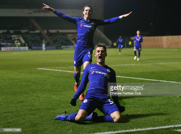 Charlie Brown of Chelsea celebrates scoring the first goal during the Plymouth Argyle v Chelsea U21 Checkatrade Trophy match at Home Park on October...