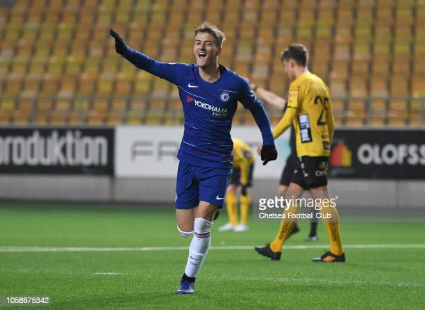 Charlie Brown of Chelsea celebrates scoring the third goal during the UEFA Youth League match between Elfsborg and Chelsea at Boras Arena on November...