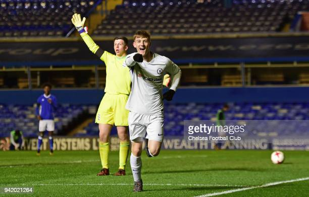 Charlie Brown of Chelsea celebrates the third goal during the FA youth Cup Semi final 1st leg between Birmingham and Chelsea at St Andrews on April...