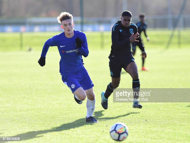 Charlie Brown of Chelsea during the Chelsea vs West ham U18 Premier League Match at Chelsea Training Ground on November 25 2017 in Cobham England