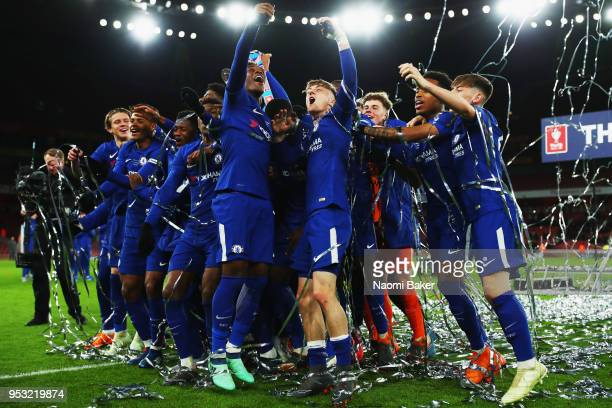 Charlie Brown of Chelsea FC celebrates with his teammates after they win the FA Youth Cup Final second leg match between Arsenal and Chelsea at...