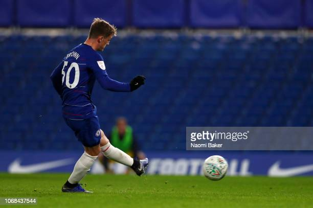 Charlie Brown of Chelsea scores his sides first goal from the penalty spot during the Checkatrade Trophy second round match between Chelsea U21 and...