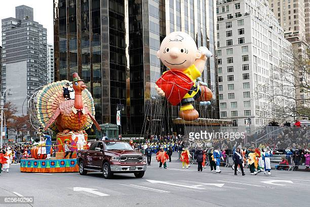 Charlie Brown rides in the Macy's Thanksgiving Day Parade on November 24, 2016 in New York City.