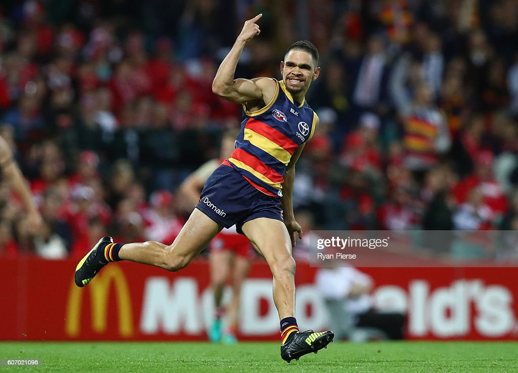 Charlie Cameron of the Crows celebrates a goal during the First AFL Semi Final match between the Sydney Swans and the Adelaide Crows at the Sydney Cricket Ground on September 17, 2016 in Sydney, Australia.