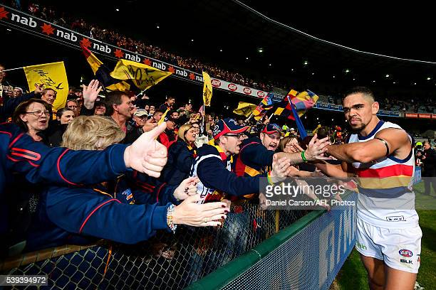 Charlie Cameron of the Crows celebrates the win with the fans during the 2016 AFL Round 12 match between the West Coast Eagles and the Adelaide Crows...
