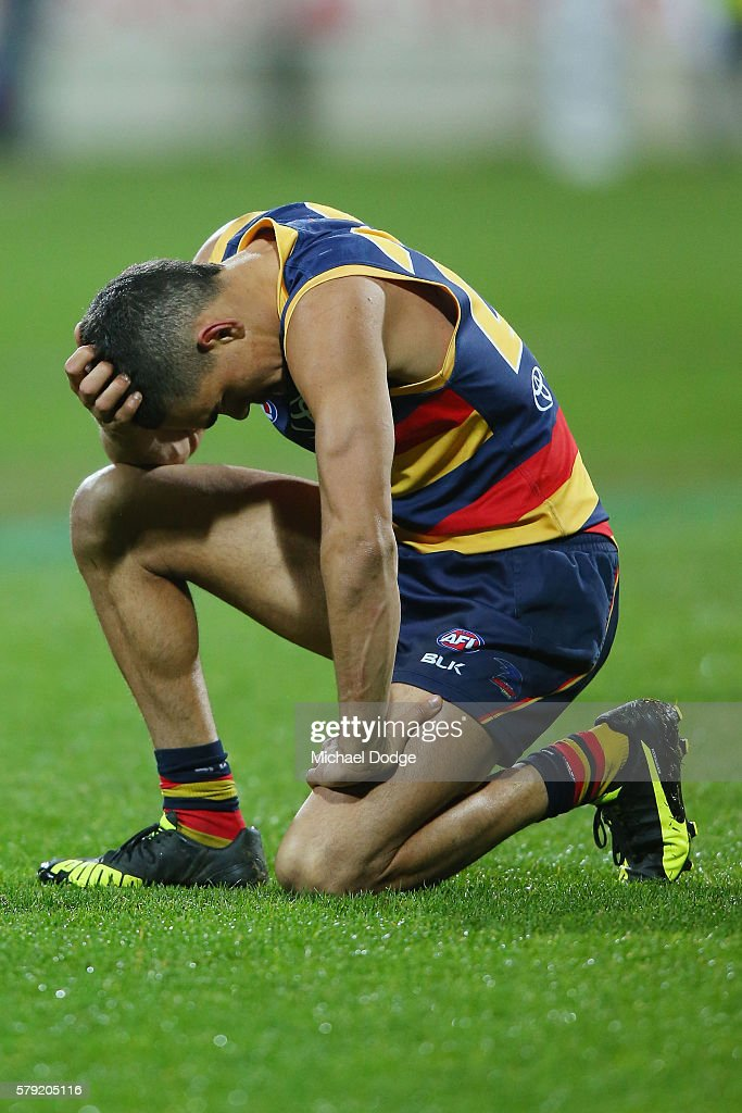 Charlie Cameron of the Crows looks dejected after defeat during the round 18 AFL match between the Geelong Cats and the Adelaide Crows at Simonds Stadium on July 23, 2016 in Geelong, Australia.
