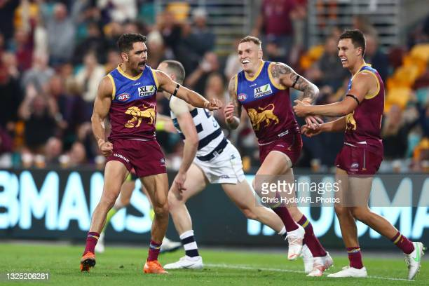 Charlie Cameron of the Lions celebrates a goal during the round 14 AFL match between the Brisbane Lions and the Geelong Cats at The Gabba on June 24,...