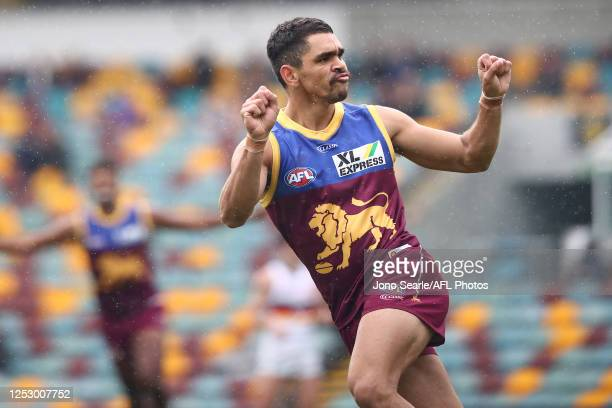 Charlie Cameron of the Lions celebrates a goal during the round 4 AFL match between the Brisbane Lions and the Adelaide Crows at The Gabba on June...