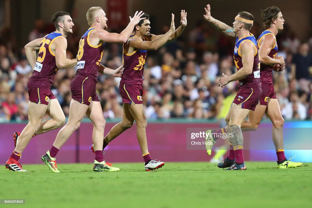 Charlie Cameron of the Lions celebrates a goal during the round two AFL match between the Brisbane Lions and the Melbourne Demons at The Gabba on March 31, 2018 in Brisbane, Australia.