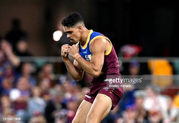 Charlie Cameron of the Lions celebrates after kicking a goal during the round seven AFL match between the Brisbane Lions and the Port Adelaide Power...