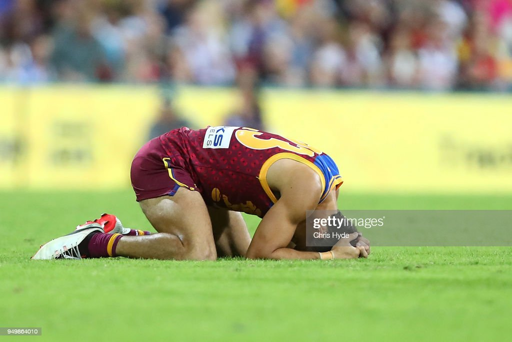 Charlie Cameron of the Lions reacts after losing the round five AFL match between the Brisbane Lions and the Gold Coast Suns at The Gabba on April 22, 2018 in Brisbane, Australia.