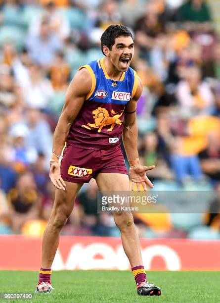 Charlie Cameron of the Lions screams in frustration at the umpires decision to penalise him during the round nine AFL match between the Brisbane...