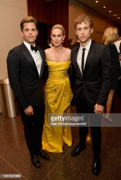 Charlie Carver Rumer Willis and Tommy Dorfman attend the amfAR Gala Los Angeles 2018 at Wallis Annenberg Center for the Performing Arts on October 18...