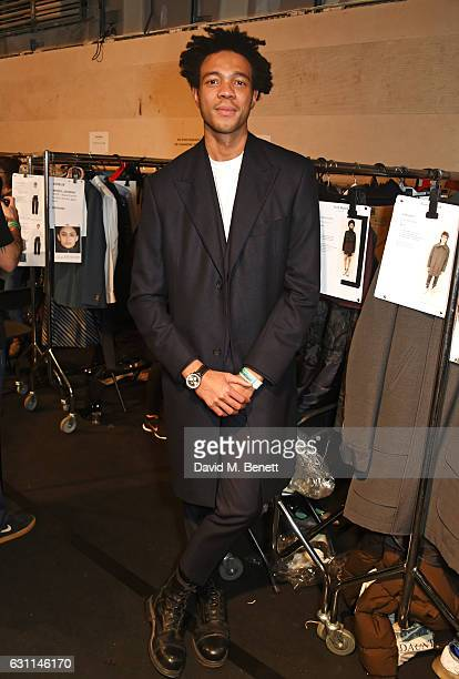 Charlie Casely-Hayford poses backstage at the Casely-Hayford show during London Fashion Week Men's January 2017 collections at BFC Show Space on...