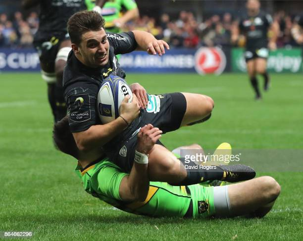 Charlie Cassang of Clermont Auvergen dives over for their third try during the European Rugby Champions Cup match between ASM Clermont Auvergne and...