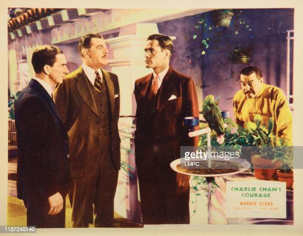 Charlie Chan's Courage lobbycard from left Murray Kinnell Paul Harvey Donald Woods Warner Oland 1934