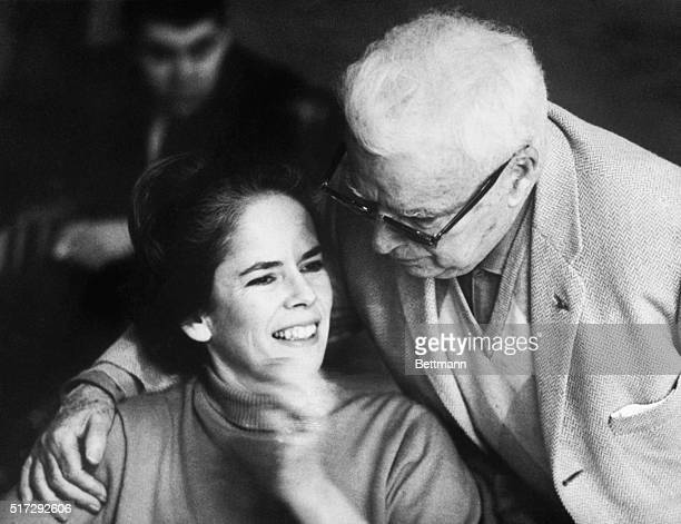 Charlie Chaplin, age 77, with his wife Oona, daughter of Eugene O'Neill and 36 years his junior, in 1966.