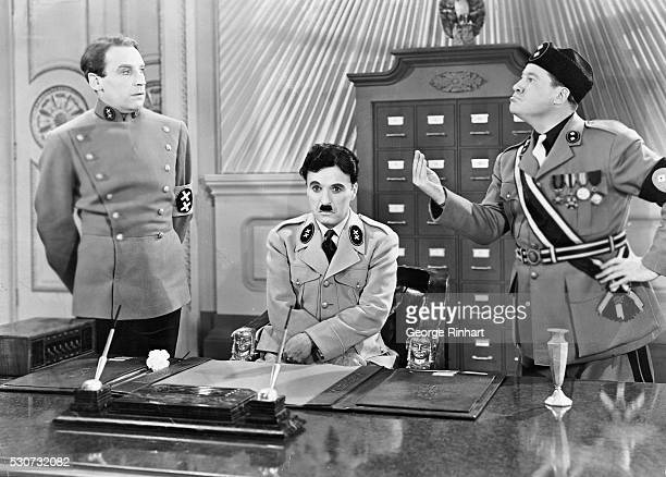 Charlie Chaplin as Hitler and Jack Oakie as Mussolini in the United Artist picture The Great Dictator