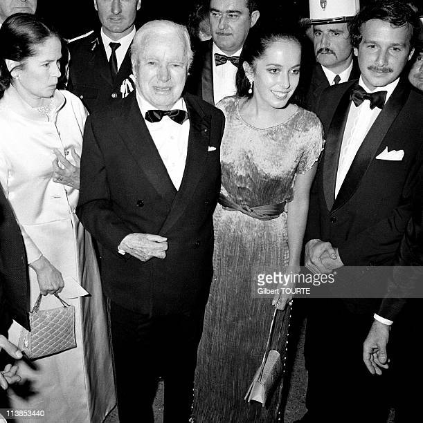 Charlie Chaplin his daugther Josephine and his wife Oona at Cannes Film Festival in 1971