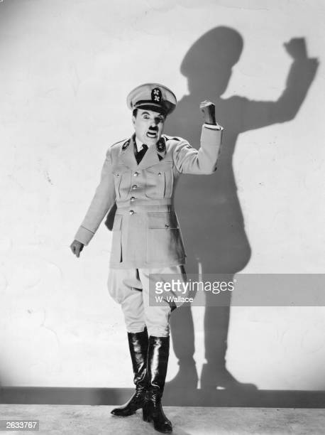 Charlie Chaplin in character for his film 'The Great Dictator'