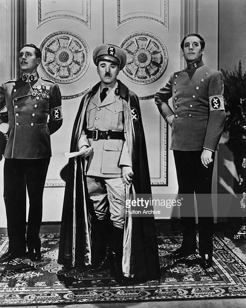 Charlie Chaplin in full regalia as the dictator of Tomania in the United Artists film 'The Great Dictator' directed by Chaplin himself
