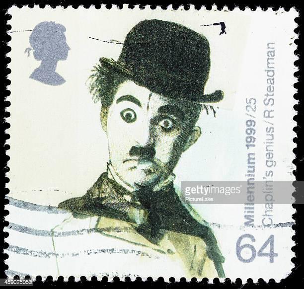 uk charlie chaplin timbre-poste - charlie chaplin photos et images de collection