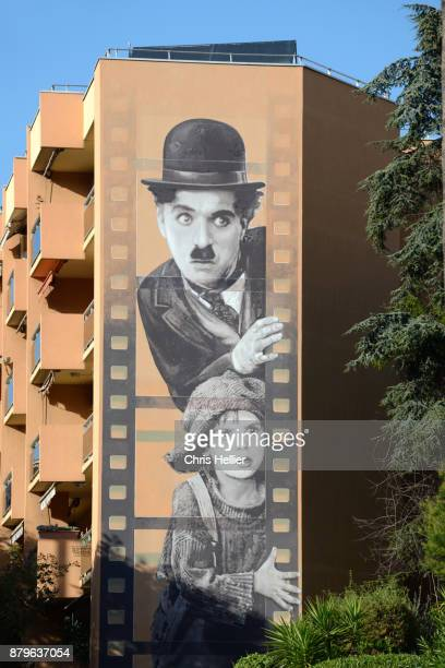 Charlie Chaplin & The Kid Mural Painting Cannes