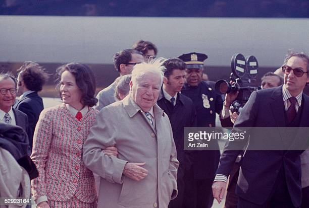 Charlie Chaplin with his wife Oona O'Neill arriving in NYC circa 1970 New York