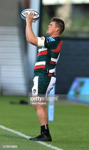 Charlie Clare of Leicester Tigers throws the ball during the Gallagher Premiership Rugby match between Sale Sharks and Leicester Tigers at AJ Bell...
