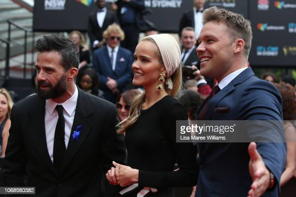 Charlie Clausen, Isabel Lucas and Lincoln Lewis attend the 2018 AACTA Awards Presented by Foxtel at The Star on December 5, 2018 in Sydney, Australia.