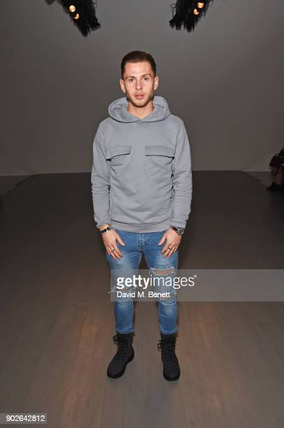 Charlie Colkett attends the Bobby Abley show during London Fashion Week Men's January 2018 at BFC Show Space on January 8 2018 in London England
