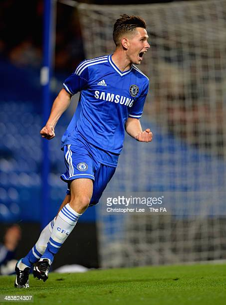 Charlie Colkett of Chelsea celebrates scoring their first goal during the FA Youth Cup Semi Final First Leg match between Chelsea U18 and Arsenal U18...