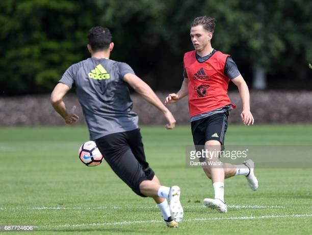 Charlie Colkett of Chelsea in action during a Chelsea training session at Chelsea Training Ground on May 24 2017 in Cobham England