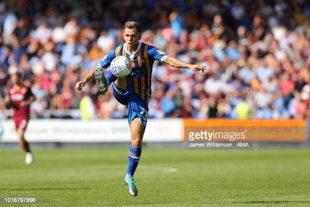 Charlie Colkett of Shrewsbury Towny Town and Bradford City at New Meadow on August 4 2018 in Shrewsbury United Kingdom