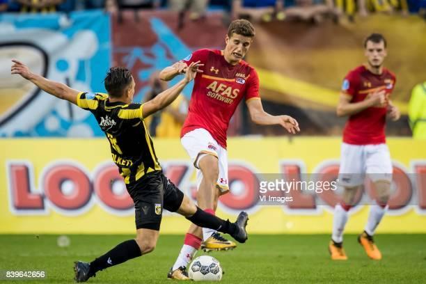 Charlie Colkett of Vitesse Guus Til of AZ during the Dutch Eredivisie match between Vitesse Arnhem and AZ Alkmaar at Gelredome on August 26 2017 in...