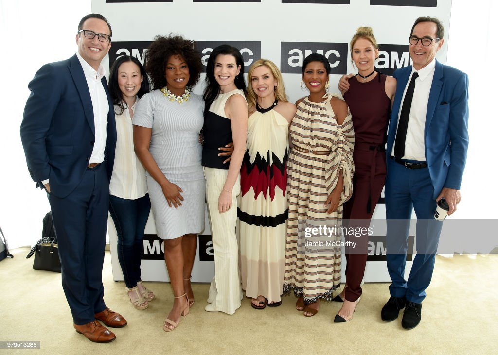 Charlie Collier, Angela Kang, Lorraine Touissant, Julianna Margulies, Rhea Seehorn, Tamron Hall, Jenna Elfman, and Josh Sapan attend the AMC Summit at Public Hotel on June 20, 2018 in New York City.