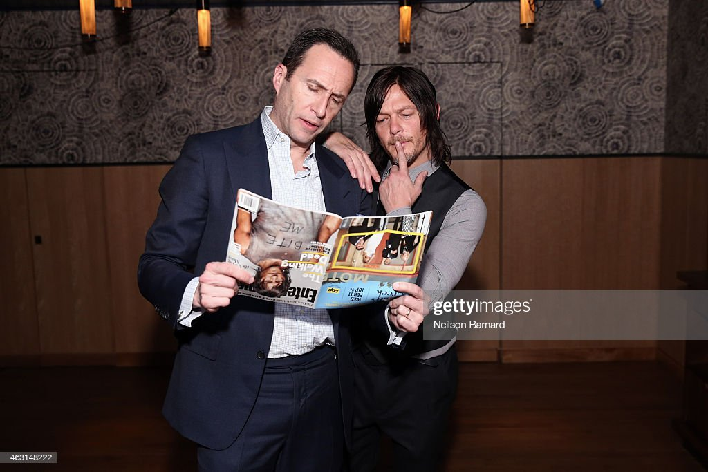 Charlie Collier, President and General Manager AMC Networks and Norman Reedus attend an intimate dinner hosted by Entertainment Weekly to celebrate the magazines 'The Walking Dead' cover story on February 10, 2015 in New York City.
