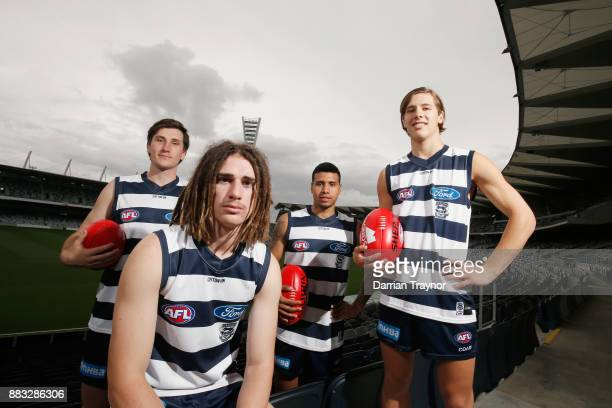 Charlie Constable Gryan Miers Tim Kelly and Lachie Fogarty pose for a photo during a Geelong Cats Media Session at GMHBA Stadium on December 1 2017...
