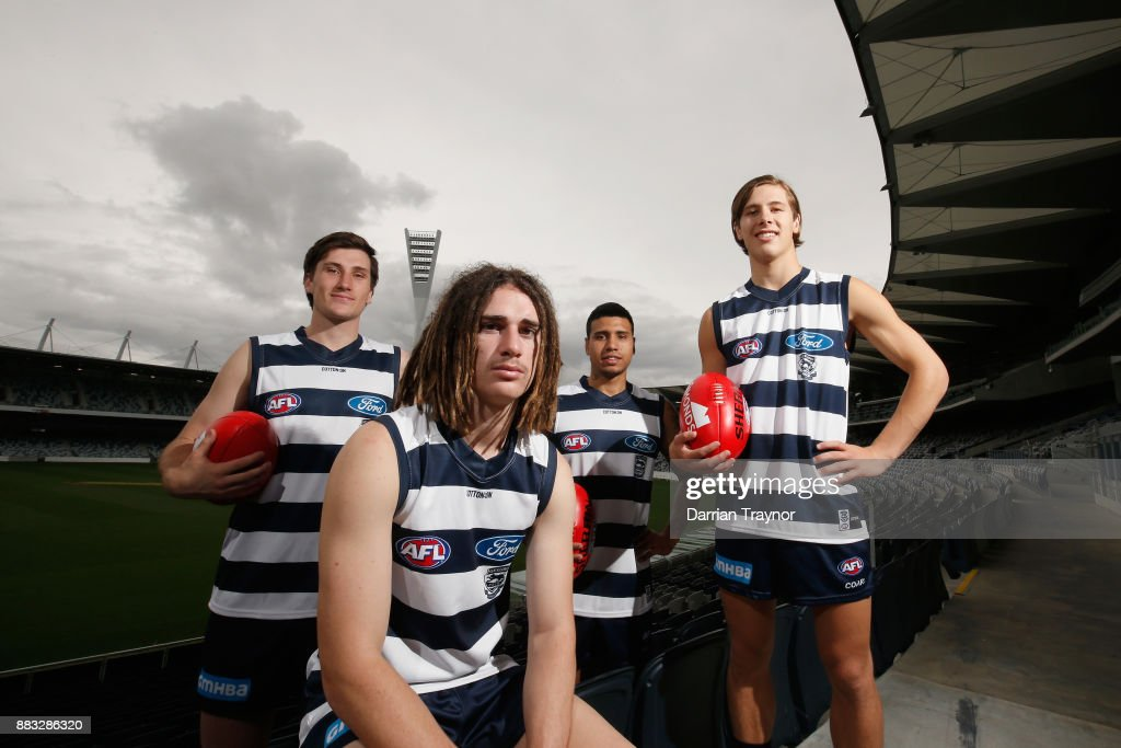 Charlie Constable, Gryan Miers, Tim Kelly and Lachie Fogarty pose for a photo during a Geelong Cats Media Session at GMHBA Stadium on December 1, 2017 in Geelong, Australia.