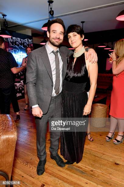 Charlie Cox and CarrieAnne Moss attend the 'Marvel's The Defenders' New York Premiere After Party at The Standard Biergarten on July 31 2017 in New...