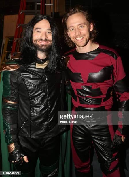 Charlie Cox as Loki and Tom Hiddleston as Daredevil pose backstage as the Broadway cast of Betrayal celebrate Halloween at The Bernard B Jacobs...