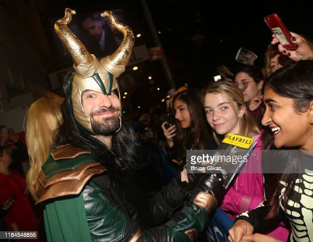 Charlie Cox as Loki greets fans as the Broadway cast of Betrayal celebrate Halloween at The Bernard B Jacobs Theatre on October 30 2019 in New York...
