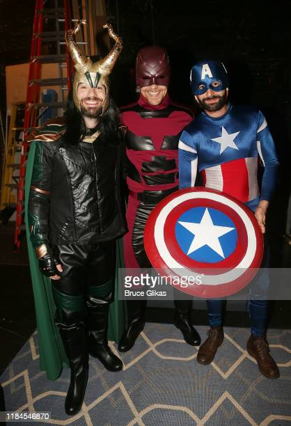 Charlie Cox as Loki Tom Hiddleston as Daredevil and Eddie Arnold as Captain America pose as the Broadway cast of Betrayal celebrate Halloween at The...