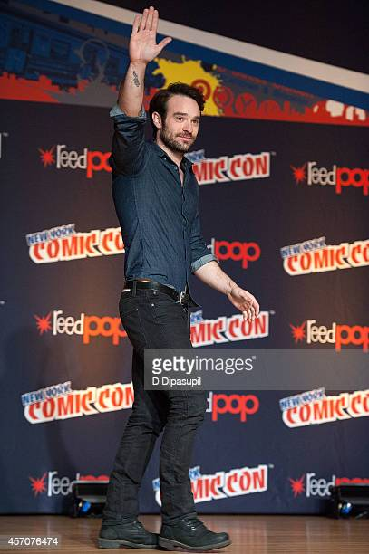Charlie Cox attends the Netflix Original Series 'Marvel's Daredevil' New York ComicCon Panel Cast Signing at the Javits Center on October 11 2014 in...