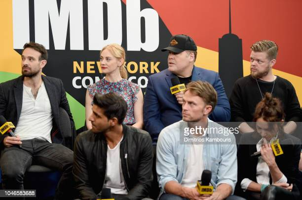 Charlie Cox, Deborah Ann Woll, Vincent D'Onofrio, Elden Henson, Jay Ali, Wilson Bethel and Joanne Whalley of 'Daredevil' attend IMDb at New York...