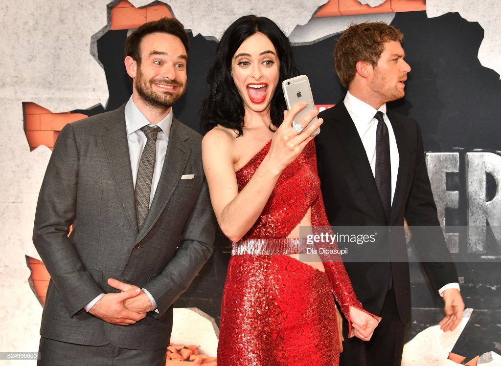 Charlie Cox, Krysten Ritter and Finn Jones attend the 'Marvel's The Defenders' New York Premiere at Tribeca Performing Arts Center on July 31, 2017 in New York City.