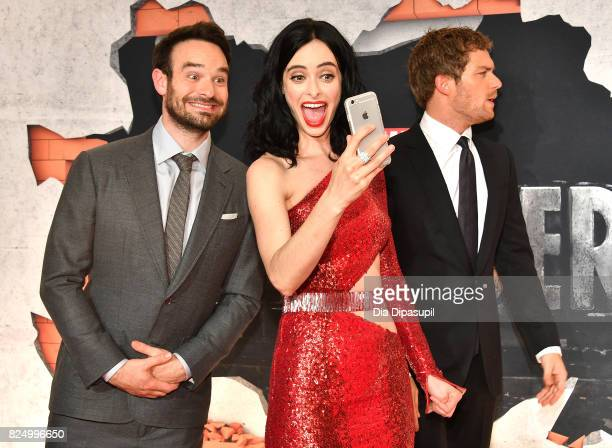 Charlie Cox Krysten Ritter and Finn Jones attend the Marvel's The Defenders New York Premiere at Tribeca Performing Arts Center on July 31 2017 in...